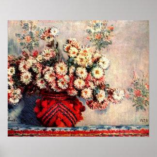 Stillleben mit Chrysanthemen durch Claude Monet Poster