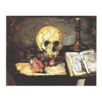 Stillleben mit dem Schädel, Kerze und Buch Postkarte