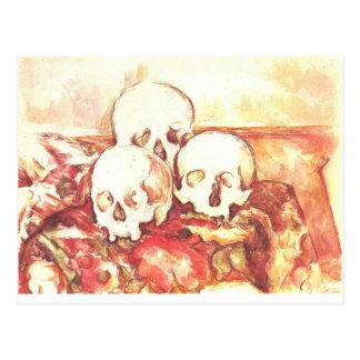 Stillleben mit drei Schädeln Postkarte