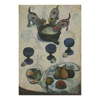 Stillleben mit drei Welpen durch Paul Gauguin Poster