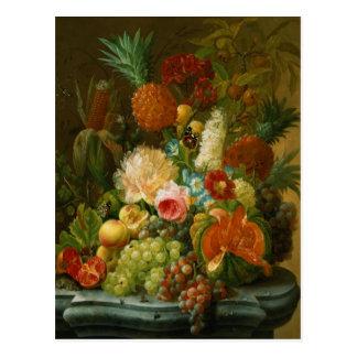 Stillleben mit einer Melone und Trauben Postkarte
