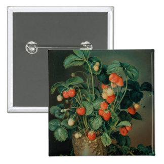Stillleben mit Erdbeeren Quadratischer Button 5,1 Cm