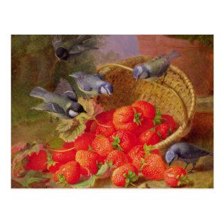 Stillleben mit Erdbeeren und Bluetits Postkarte