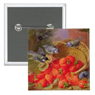 Stillleben mit Erdbeeren und Bluetits Quadratischer Button 5,1 Cm