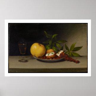 Stillleben mit Frucht, Kuchen und Wein, 1821 Poster