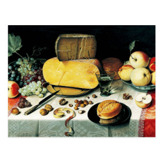 Stillleben mit Frucht, Nüssen und Käse Postkarte