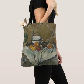 Stillleben mit Glas, Schale und Äpfeln Tasche