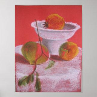 Stillleben mit hellen Früchten Poster