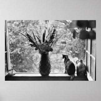 Stillleben mit Katze Poster