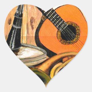 Stillleben mit Musikinstrumenten Herz-Aufkleber