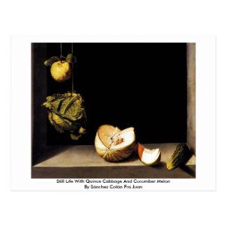 Stillleben mit Quitten-Kohl und Gurken-Melone Postkarte