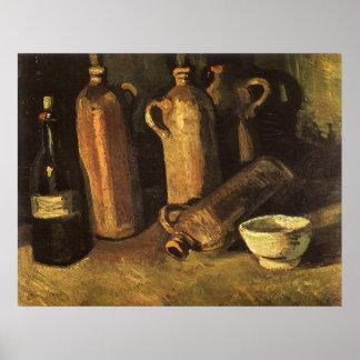 Stillleben mit Steinflaschen durch Vincent van Poster