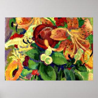 Stillleben mit Tiger-Lilien; Malerei Löwen Gestel Posterdrucke