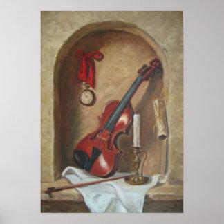 Stillleben mit Violine Poster
