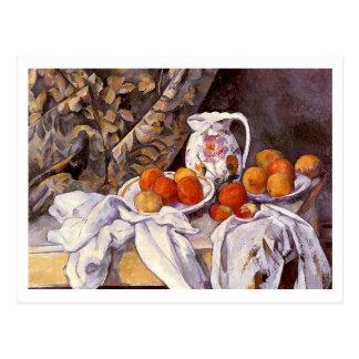 Stillleben mit Vorhang durch Paul Cezanne Postkarte