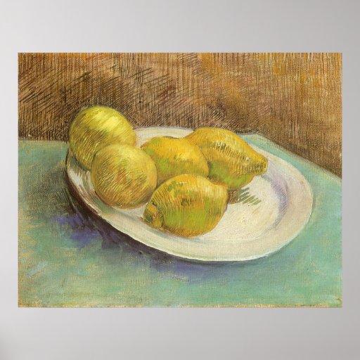 Stillleben mit Zitronen auf Platte; Vincent van Go Poster
