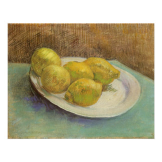 Stillleben mit Zitronen auf Platte; Vincent van Poster