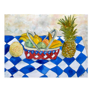 Stillleben-Obstkorb-Kunstpostkarte Postkarte