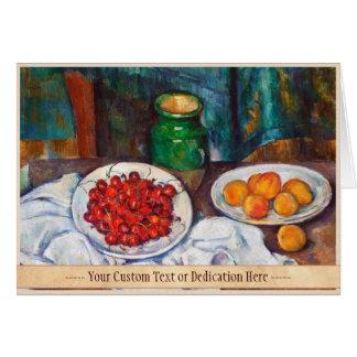 Stillleben Pauls Cezanne mit Kirschen und Karte