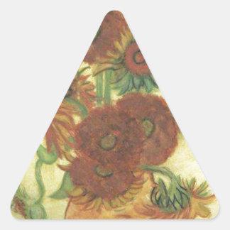 Stillleben: Sonnenblumen Dreieckiger Aufkleber