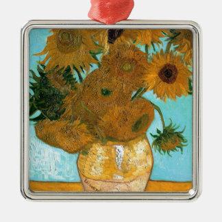 Stillleben: Sonnenblumen - Vincent van Gogh Quadratisches Silberfarbenes Ornament