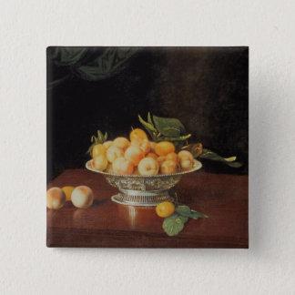 Stillleben T32176 der Pfirsiche, c.1700 Quadratischer Button 5,1 Cm