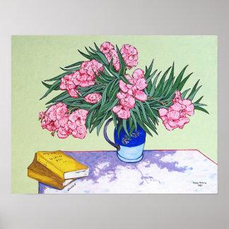 Stillleben: Vase mit Oleandern und Büchern Poster