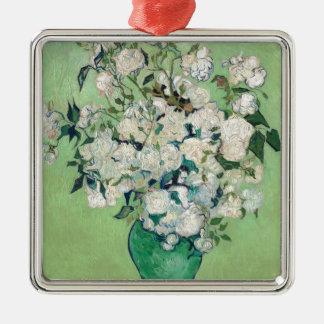 Stillleben: Vase mit Rosen - Vincent van Gogh Quadratisches Silberfarbenes Ornament