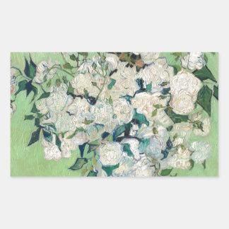 Stillleben: Vase mit Rosen - Vincent van Gogh Rechteckiger Aufkleber