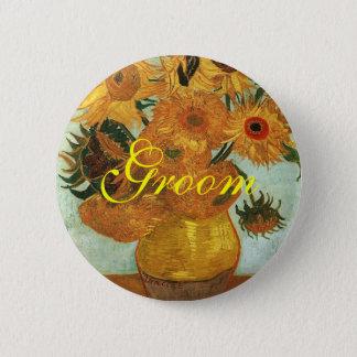 Stillleben - Vase mit zwölf Sonnenblumen, Vincent Runder Button 5,1 Cm
