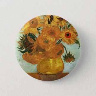 Stillleben - Vase mit zwölf Sonnenblumen, Vincent Runder Button 5,7 Cm