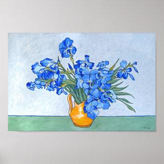 Stillleben: Vasen mit Iris Poster