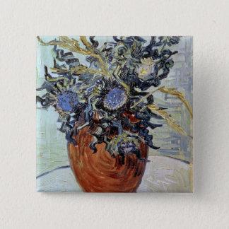 Stillleben Vincent van Goghs   mit Disteln, 1890 Quadratischer Button 5,1 Cm