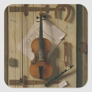Stillleben, Violine und Musik Quadratischer Aufkleber