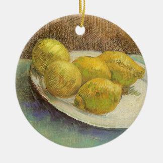 Stillleben-Zitronen auf einer Platte durch Vincent Keramik Ornament