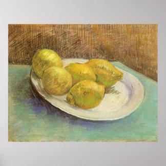 Stillleben-Zitronen auf einer Platte durch Vincent Poster