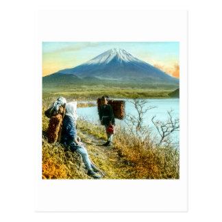 Stillstehen auf dem Straßenrand zum Fujisan Vintag Postkarte