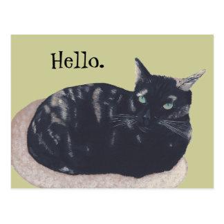 Stillstehende Schildpatt-Katzen-Malerei-hallo Postkarte