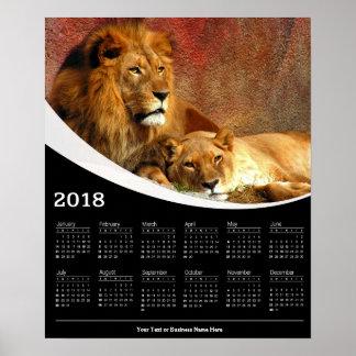 Stillstehendes Kalender-Plakat des Löwe-2018 und Poster