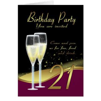 Stilvolle 21. Geburtstags-Party Einladungs-Karte Karte