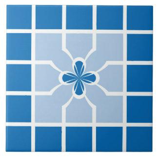 Stilvolle blaue geometrische Quadrate Quatrefoil Keramikfliese
