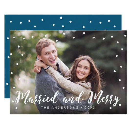 Stilvolle Bürsten-verheiratetes und fröhliches 12,7 X 17,8 Cm Einladungskarte