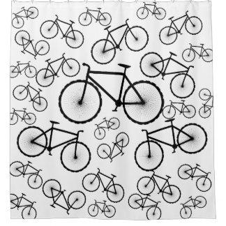 Stilvolle Fahrrad-Collage Duschvorhang