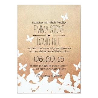 Stilvolle Fliegen-Schmetterlings-neutrale Hochzeit 12,7 X 17,8 Cm Einladungskarte