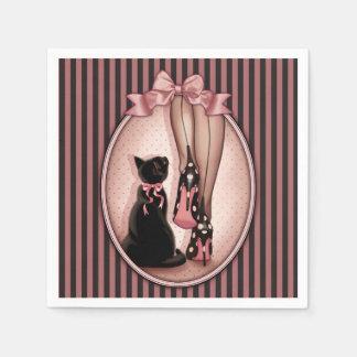 Stilvolle Frau und schwarze Katze Servietten