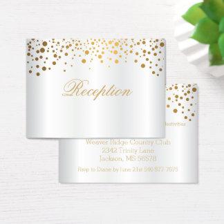 Stilvolle Goldconfetti-Punkte auf weißem Satin Visitenkarte