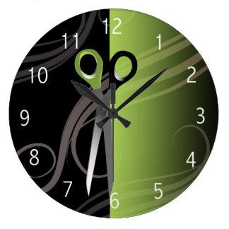 stilvolle grüne Friseursalonuhr Große Wanduhr