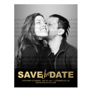 Stilvolle Imitat-GoldSave the Date Foto-Postkarte Postkarte