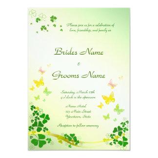 Stilvolle Kleeblatt-Hochzeits-Einladung