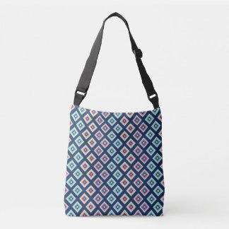 Stilvolle Marine-Blau-Diamant-Muster-Tasche Tragetaschen Mit Langen Trägern